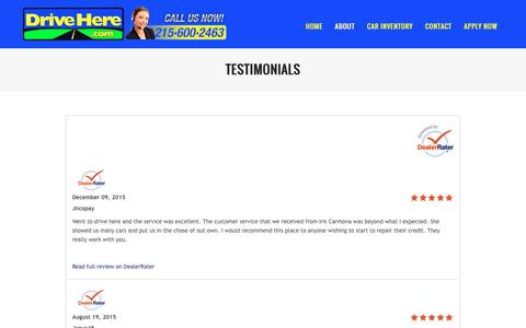 Screenshot of Testimonials Page drivehere.com - Testimonials | How to make deal with Buy Here Pay Here Car Deal program in Philadelphia - captured Feb. 9, 2016