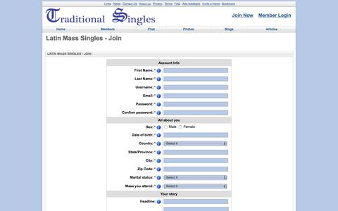 Screenshot of Signup Page traditionalsingles.com - Latin Mass Singles - Join - captured July 8, 2018