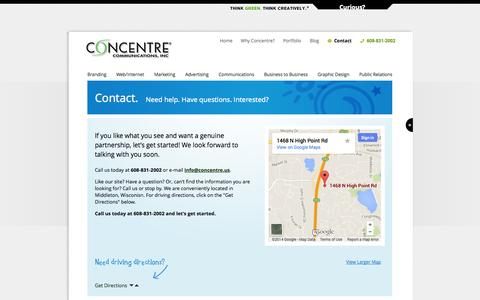 Screenshot of Contact Page FAQ Page concentre.us - Madison Brand Marketing Agency | Contact Concentre Communications - captured Oct. 22, 2014