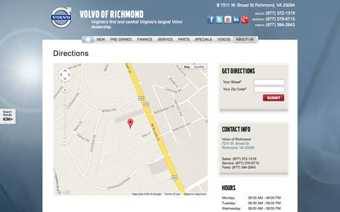 Screenshot of Maps & Directions Page volvoofrichmond.com - Volvo of Richmond Directions | New Volvo dealership in Richmond, VA 23294 - captured Oct. 7, 2014
