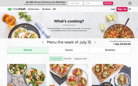 Screenshot of Menu Page missfresh.com - MissFresh: Fresh Ingredients, Delicious Recipes, Meal Kits Delivered - captured July 10, 2018