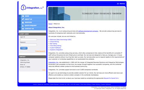 Screenshot of About Page integrationinc.com - Custom Software Programming, System Integration Consulting Services - About Integration, Inc. - captured Sept. 30, 2014