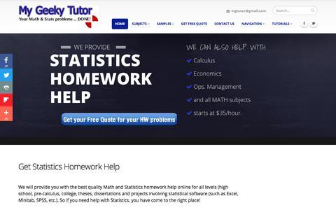 Screenshot of Home Page mygeekytutor.com - Statistics Homework Help Online - captured June 30, 2018