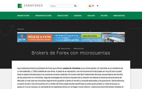 Screenshot of earnforex.com - Brokers de Forex con microcuentas — Comercio de Forex con microlotes - captured Oct. 17, 2017