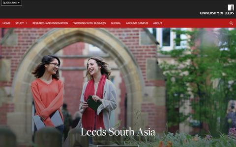 Screenshot of Menu Page leeds.ac.uk - University of Leeds | Leeds South Asia - captured Sept. 25, 2018