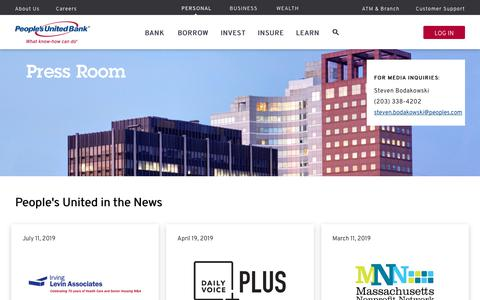 Screenshot of Press Page peoples.com - Press Room | People's United Bank - captured July 17, 2019