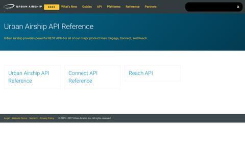 Urban Airship API Reference · Urban Airship Docs