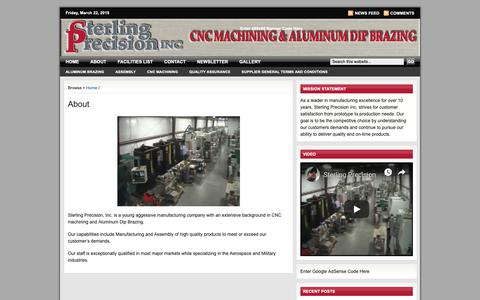 Screenshot of Home Page sterlingprecisioninc.com - About Sterling Precision, Inc. | www.sterlingprecisioninc.com - captured March 22, 2019
