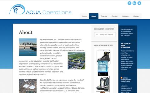 Screenshot of About Page aquaoperations.com - About - captured Oct. 4, 2014
