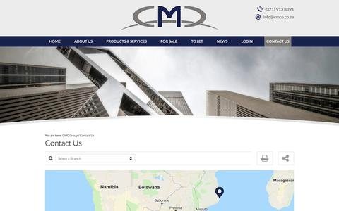 Screenshot of Contact Page cmcgroup.co.za - Contact Us | CMC Group - captured Sept. 25, 2018