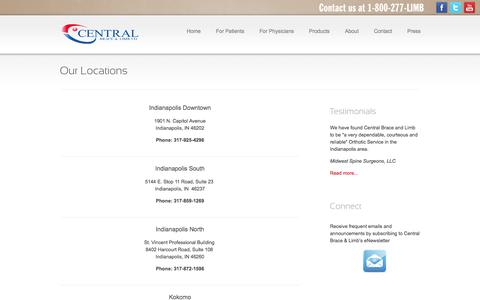Screenshot of Locations Page centralbraceandlimb.com - Our Locations | Central Brace & Limb - Indianapolis, IN - captured Oct. 2, 2014