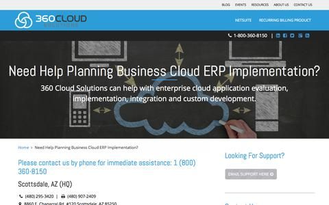 Screenshot of Contact Page 360cloudsolutions.com - 360 Cloud Solutions l Contact Us l Phoenix, Raleigh, Salt Lake - captured Nov. 5, 2015