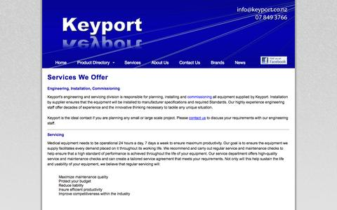 Screenshot of Services Page keyport.co.nz - Specialist Medical Equipment and Engineering - Services | Keyport - captured Oct. 6, 2014