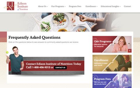 Screenshot of FAQ Page edisoninst.com - Frequently Asked Questions | Edison Institute of Nutrition - captured Sept. 27, 2018