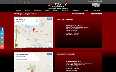 Screenshot of Maps & Directions Page foxengineering.net - Fox Engineering Directions - captured Oct. 5, 2014