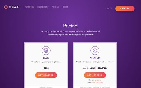 Screenshot of Pricing Page heapanalytics.com - Pricing -        Heap   Mobile and Web Analytics - captured Dec. 14, 2017
