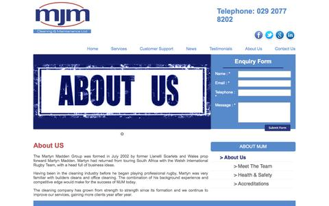 Screenshot of About Page martynmaddengroup.co.uk - About US   MJM Cleaning & Maintenance Cardiff and Bristol areas - captured Oct. 27, 2014