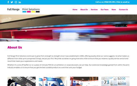 Screenshot of About Page fullrangeprintsolutions.co.uk - Full Range Print Solutions in Halesowen nr Birmingham - captured Nov. 14, 2018