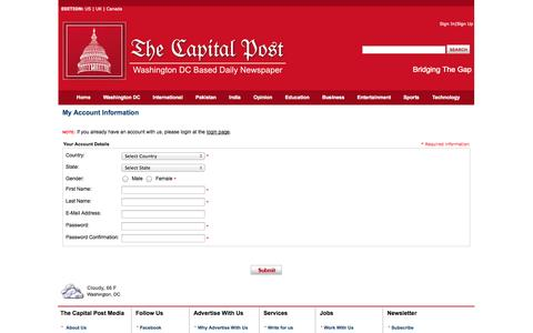 Screenshot of Signup Page thecapitalpost.com - Thecapitalpost.com - Breaking, International, Business, Sports, Entertainment, Technology and Video News - captured Oct. 7, 2014