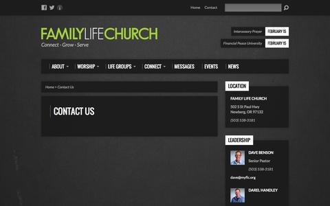 Screenshot of Contact Page myflc.org - Contact Us - Family Life Church - captured Feb. 9, 2016