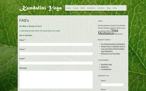 Screenshot of FAQ Page kundaliniyoga-sdsk.com - Yoga Studio & Instructor Training in Rochester, NY | Kundalini Yoga - captured Oct. 17, 2017