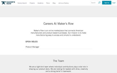 Screenshot of Jobs Page makersrow.com - Careers | Maker's Row - captured July 23, 2019