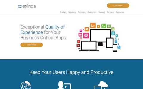 Screenshot of Home Page exinda.com - Exinda | Control Critical Business Apps in the Network and Cloud - captured March 28, 2017