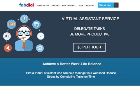 Screenshot of Home Page fabdial.com - Virtual Assistant Services - Fabdial - captured Oct. 5, 2014