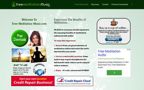 Screenshot of Home Page free-meditation-music.com - Free Meditation Music - Free High Quality Meditation Audios - captured Sept. 25, 2014