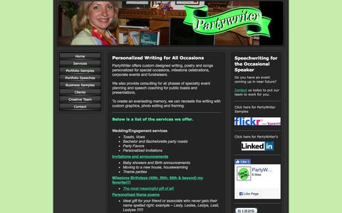 Screenshot of Services Page partywriter.com - Partywriter - Services - captured July 15, 2017