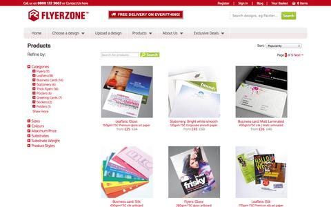 Screenshot of Products Page flyerzone.co.uk - Print flyers, leaflets, business cards, stationery and much more. Free delivery. | Flyerzone - captured Sept. 19, 2014