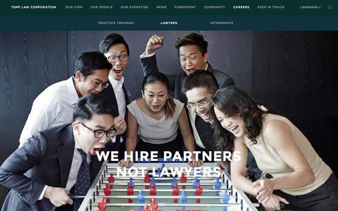 Screenshot of Jobs Page tsmplaw.com - TSMP Law Corporation - Careers - captured Feb. 22, 2016