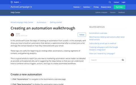 Screenshot of Support Page activecampaign.com - Creating an automation walkthrough – ActiveCampaign Help Center - captured June 18, 2019