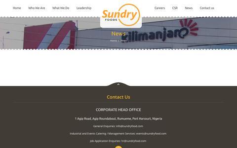 Screenshot of Press Page sundryfood.com - News | Sundry Foods Services - captured Feb. 16, 2016
