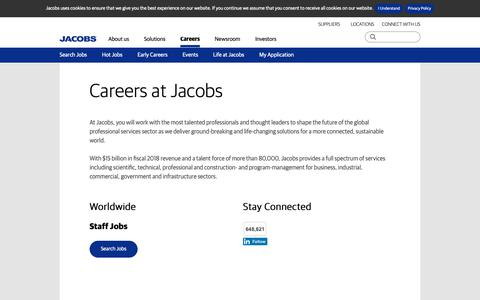 Screenshot of Jobs Page jacobs.com - Careers at Jacobs | Jacobs - captured Feb. 14, 2019