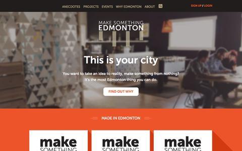 Screenshot of Home Page makesomethingedmonton.ca - Welcome | Make Something Edmonton - captured Sept. 30, 2014