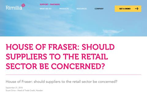 Screenshot of Press Page rimilia.com - House of Fraser: should suppliers to the retail sector be concerned? | Rimilia - captured Jan. 30, 2020
