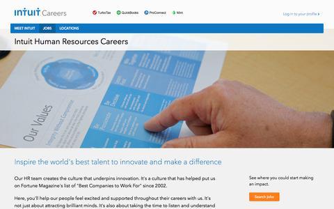 Screenshot of Jobs Page intuit.com - Human Resources Jobs and Careers at Intuit – Intuit Careers - captured July 22, 2017