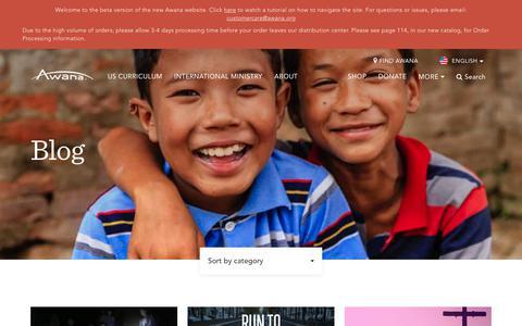 Screenshot of Blog awana.org - Blog - Awana - captured July 31, 2018