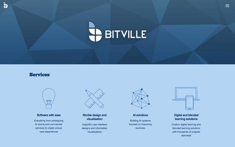 Screenshot of Home Page bitville.fi - Bitville - Software with ease, Nimble design and visualisation, AI solutions and Digital and blended learning solutions - captured Oct. 10, 2017