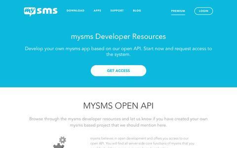 Screenshot of Developers Page mysms.com - Developer Resources | mysms - captured March 5, 2016