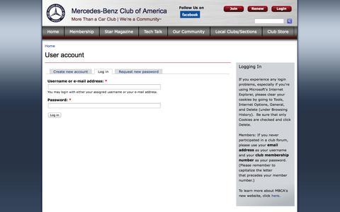 Screenshot of Login Page mbca.org - User account | Mercedes-Benz Club of America - captured Oct. 27, 2014