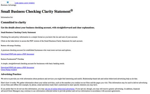 Small Business Checking Clarity Statement