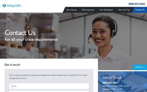 Screenshot of Contact Page easycrate.co.uk - Contact Us | Easycrate Crate Hire - captured July 16, 2018