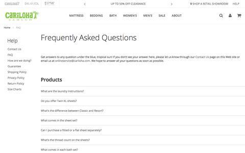 Screenshot of FAQ Page cariloha.com - FAQ - captured June 28, 2019