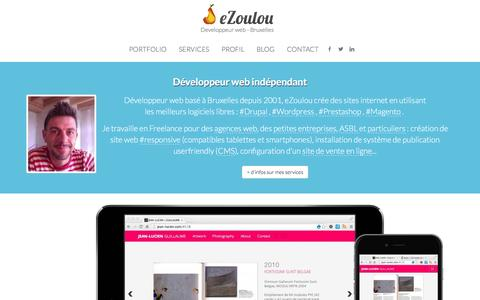 Screenshot of Home Page ezoulou.be - eZoulou.be   Developpeur web - Bruxelles - captured March 2, 2016