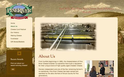 Screenshot of About Page pinerivercheese.com - PineRiver Cheese - About Us - captured Dec. 9, 2015