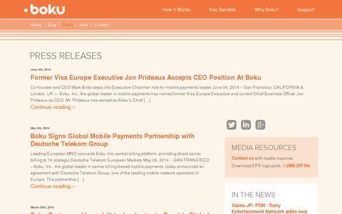 Screenshot of Press Page boku.com - Press | BOKU - captured July 19, 2014