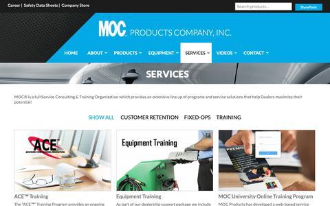 Screenshot of Services Page mocproducts.com - Services | MOCMOC - captured Nov. 11, 2018