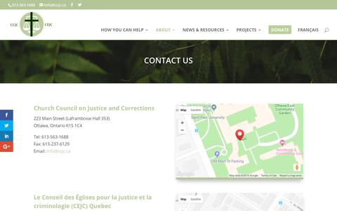 Screenshot of Contact Page ccjc.ca - Contact Us - CCJC - captured Oct. 18, 2018